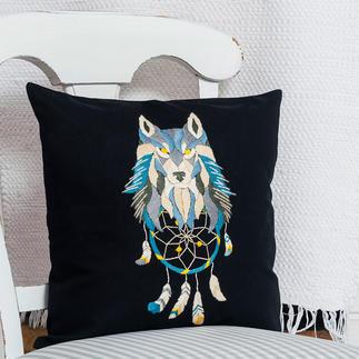 Stick-Kissen - Traumfänger-Wolf, komplett mit Füllung