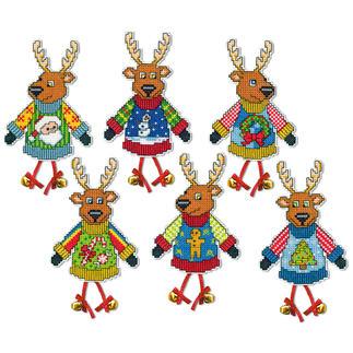 6 Weihnachtsanhänger im Set - Lustige Hirsche Kreuzstich-Anhänger
