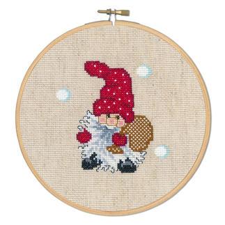 Stickbild - Wichtel mit Sack Die skandinavische Weihnachtstradition: putzige Wichtel.