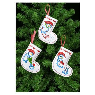 3 Christbaum-Anhänger im Set - Schneemänner