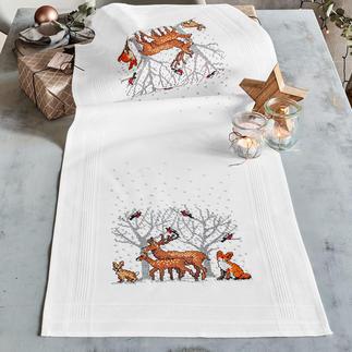 Tischwäsche mit eingewebtem Zierrand - Tiere im Wald