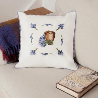 Halbleinen-Kissen - Lavendel-Amphore