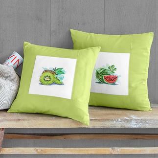 Watercolour-Styles, 2 Kissen im Set - Tropische Früchte Watercolour-Styles – Sticken mit 3D-Effekt.
