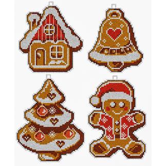 4 Weihnachtsanhänger im Set - Lebkuchenfiguren