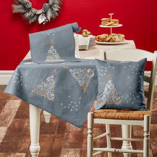 Edler Weihnachtsbaum Tischdecke, Tischläufer oder Kissen Pflegeleichte Tischwäsche mit glitzerndem Metall-Effektgarn.