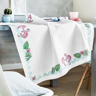 Aida-Tischdecke - Flamingos Hübsche Flamingos - eingefangen als trendige Stick-Idee.