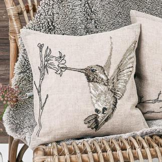 Leinen-Stickkissen - Kolibri