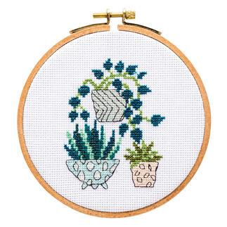 Kreuzstichbild - Topfpflanzen