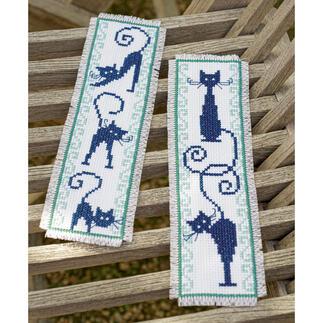 2 Lesezeichen im Set - Fröhliche Katzenbande