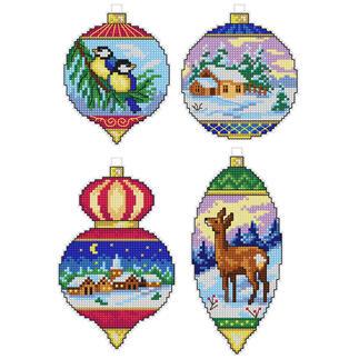 4 Weihnachtsanhänger im Set - Ornamente