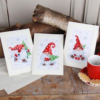 Grußkarten-Set - Wichtel 3 Weihnachtskarten mit Umschlägen im Set.