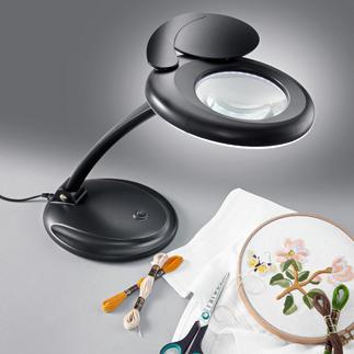 Kompakte LED-Leuchte mit Lupe LED-Handarbeitsleuchten mit Lupe.