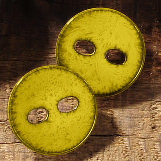 Emailleoptik-Knopf aus Kunststoff, gelb, Ø 25 mm, 1 Stück