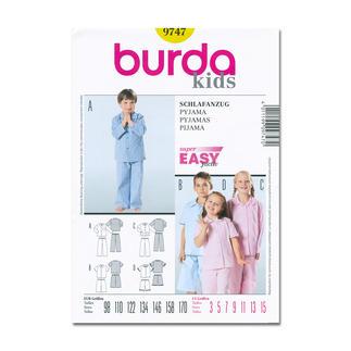 Burda Schnitt 9747 - Kinder-Schlafanzug.