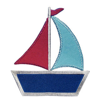 Applikation Segelschiff blau/rot Applikation - Segelschiff