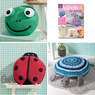 Frosch-, Marienkäfer- und Schildkröten-Kissen aus Häkeln für Zuhause HÄ004