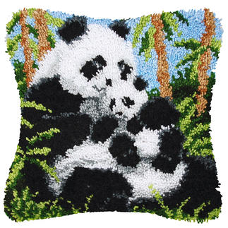 Knüpfkissen - Panda mit Baby Knüpfkissen Panda mit Baby