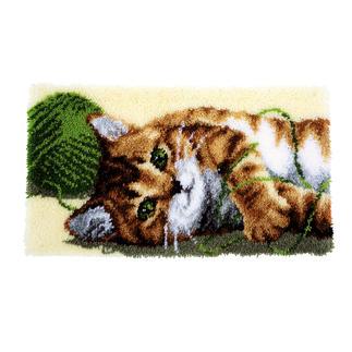 Wandbehang - Spielende Katze Knüpfideen – schnell und leicht.