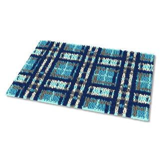 Fußmatte - Kleinkariert, Blau