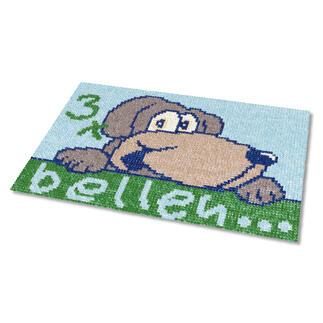 Kreuzstich-Fußmatte - 3 x bellen, Blau Gestickte Fußmatten - besonders strapazierfähig