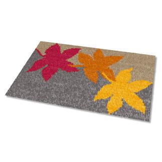 Kreuzstich-Fußmatte - Herbst, Grau Gestickte Fußmatten - besonders strapazierfähig