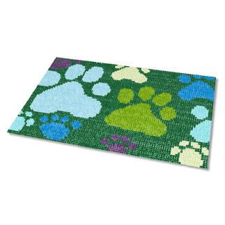 Kreuzstich-Fußmatte - Tatzen, Grün Gestickte Fußmatten - besonders strapazierfähig