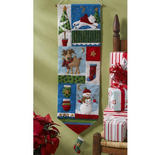patchwork wandbehang weihnachtliches basteln mit filz filzen stoffe n hen filzen im. Black Bedroom Furniture Sets. Home Design Ideas