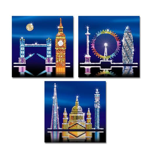 3 Paillettenbilder im Set - London