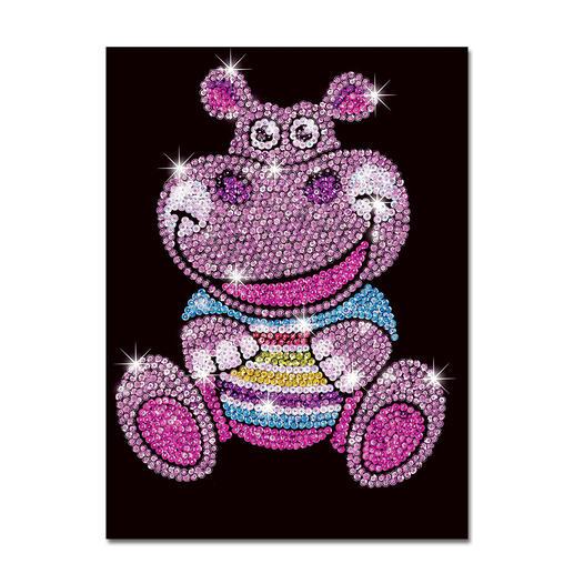 Paillettenbild für Kinder - Hippo Heidi