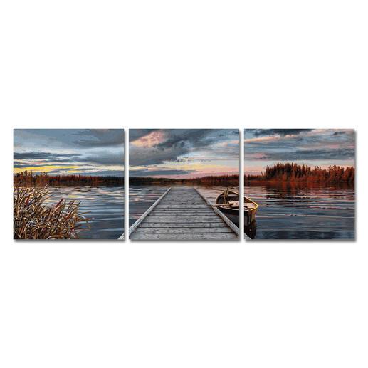 Malen nach Zahlen - Triptychon Sonnenaufgang am See