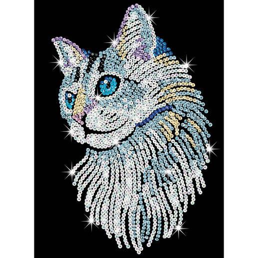 Paillettenbild für Erwachsene - Weiße Katze