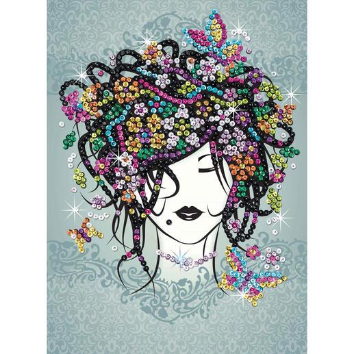 Paillettenbild für Teens - Blumenmädchen