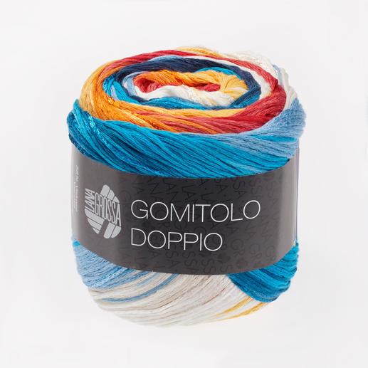 202 Blau/Weiß/Gelb/Orange/Lachs/Hellrot - breite Farbblöcke