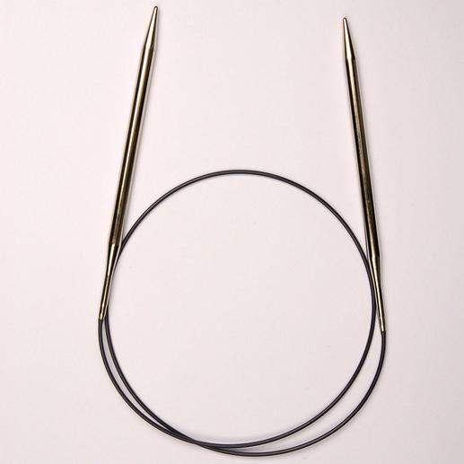 Prym Rundstricknadeln mit Messingspitzen, Mittelstück aus Perlon, 80 cm Länge