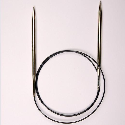 Prym Rundstricknadeln mit Messingspitzen, Mittelstück aus Perlon, 100 cm Länge