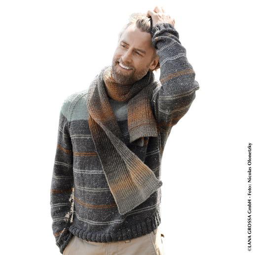 Anleitung 416/8, Pullover aus Slow Wool Canapa und Schal aus Gomitolo Versione von Lana Grossa