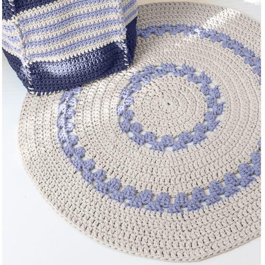 anleitung 101 9 teppich ca 100 cm aus scuby cotton von katia 2 versch farben. Black Bedroom Furniture Sets. Home Design Ideas