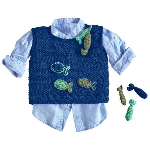 Anleitung 016/0, Baby-Pullunder mit gehäkelten Fischen aus Cotone-Emozione von Junghans-Wolle
