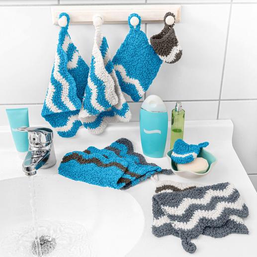 Anleitung 235/0, Wasch-Fingerschuh, Waschlappen und Gästehandtuch aus Frottee von Woolly Hugs