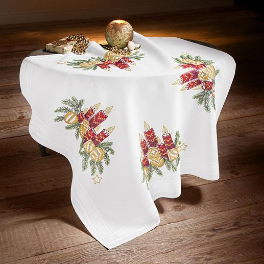 Tischdecke mit eingewebtem Zierrand - Kerzengesteck