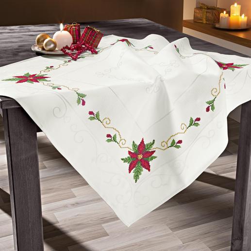 Jacquard-Damast-Tischdecke - Weihnachtsstern