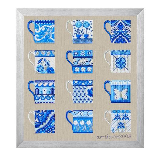 stickbild blaue tassen nach anette eriksson. Black Bedroom Furniture Sets. Home Design Ideas