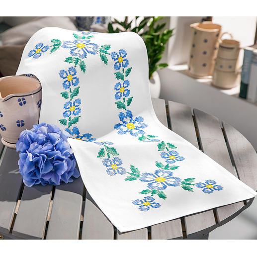 Baumwoll-Tischläufer - Blaue Blumen