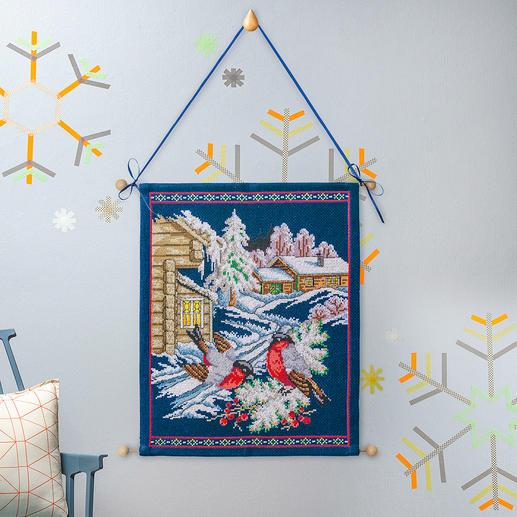 Traditioneller Wandbehang - Wintervögel