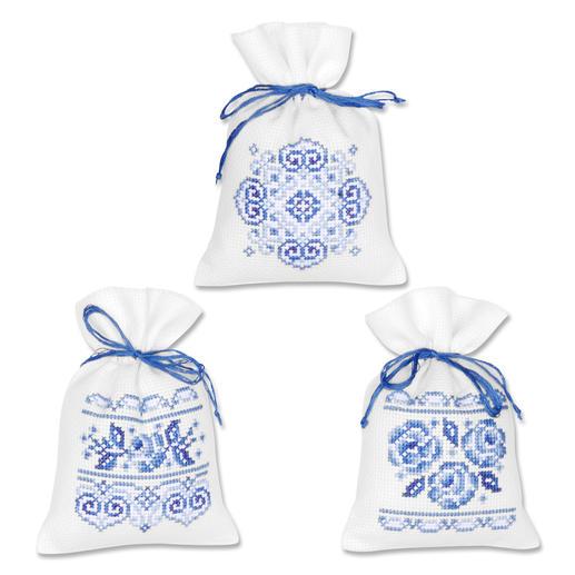 3 Duftbeutelchen im Set - Weiß-Blau