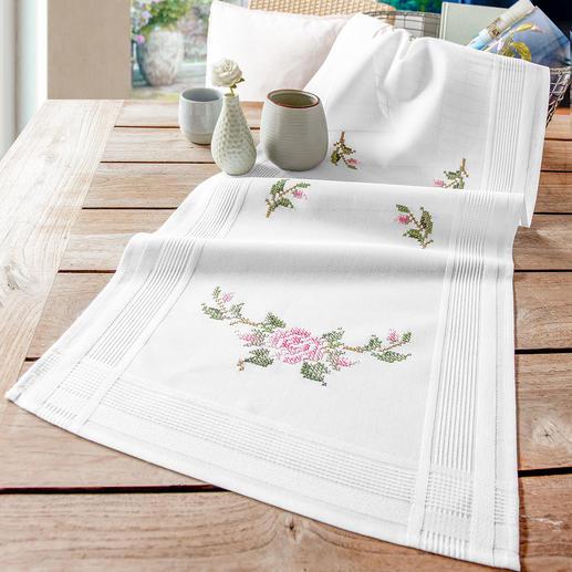 Tischläufer mit eingewebtem Zierrand - Rosen