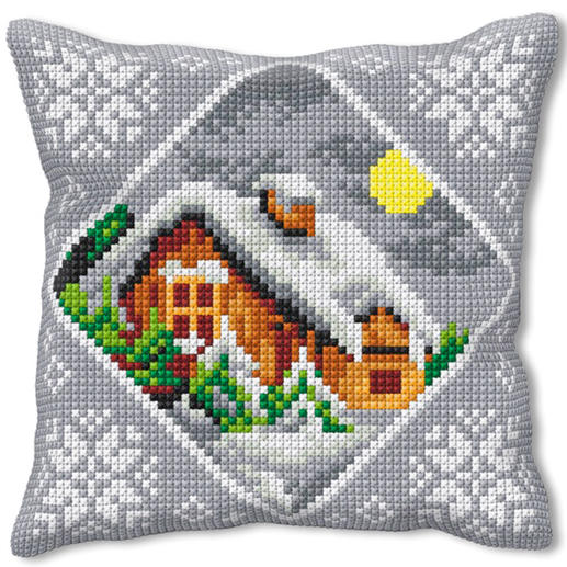 Kreuzstichkissen - Winter-Idylle