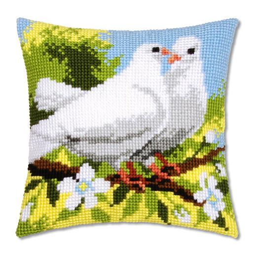Kreuzstichkissen - Weiße Tauben