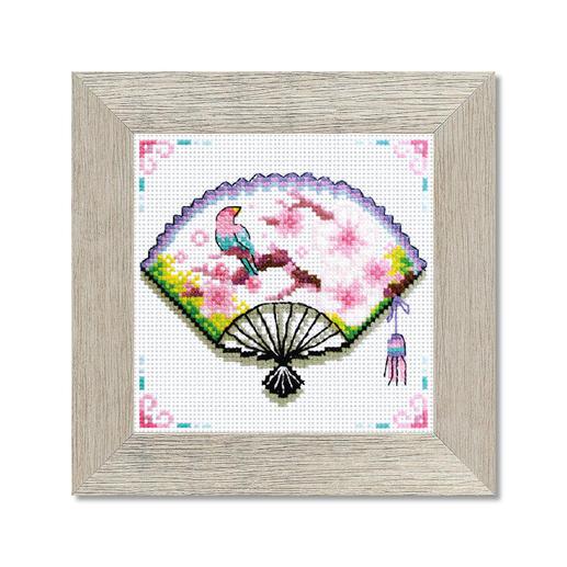 Kreuzstichbild - Kirschblüten-Fächer