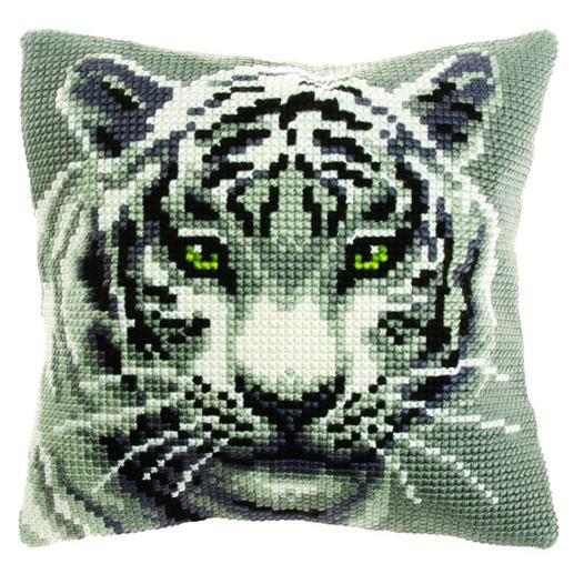Kreuzstichkissen - Weißer Tiger